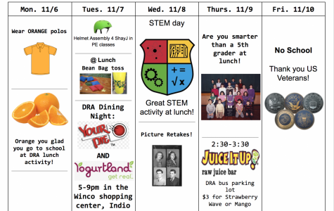 Lunch Activities for Week of Nov. 6 – 9