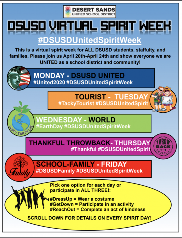 DSUSD spirit week is April 20-24, 2020