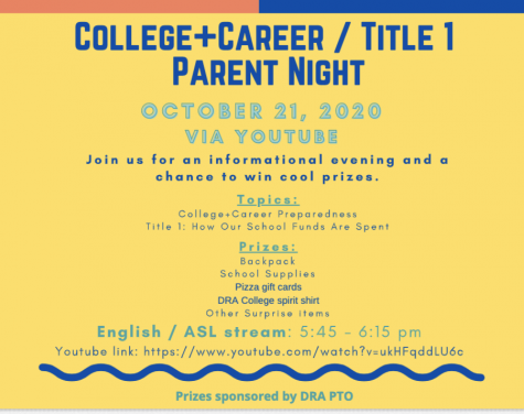 College & career parent night is Wed. Oct. 21, 2020